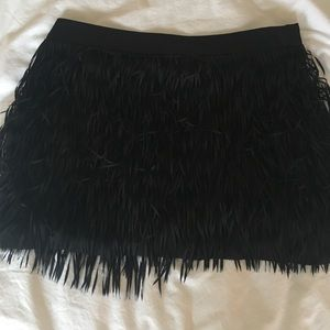 Express fringe mini skirt